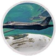 An F-35 Lightning II Flies Over Destin Round Beach Towel