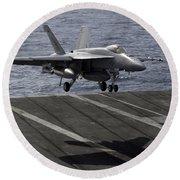 An Fa-18e Super Hornet Prepares To Land Round Beach Towel by Stocktrek Images