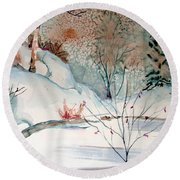 An Icy Winter Round Beach Towel by Mindy Newman