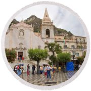 An Iffy Day In Taormina Round Beach Towel