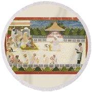 An Illustration Depicting Maharaja Ajit Singh Instructing A Scribe Round Beach Towel