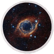 A Look In Infrared At The Helix Nebula Round Beach Towel