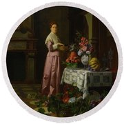 An Interior With Fruit And Flowers Round Beach Towel