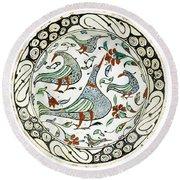 An Iznik Polychrome Pottery Dish With Birds Round Beach Towel