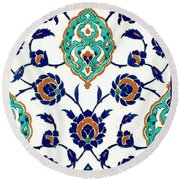 An Iznik Polychrome Tile, Turkey, Circa 1575, By Adam Asar, No 23h Round Beach Towel