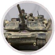 An M1a1 Abrams Tank Heading Round Beach Towel