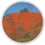 An Ocean Of Orange On The Mountain Top Round Beach Towel
