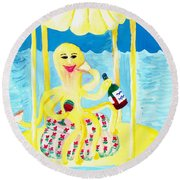 An Octopus Summerhouse Round Beach Towel