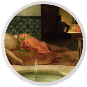 An Odalisque In A Harem Round Beach Towel by Benjamin Constant