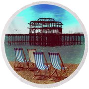 An Ode To Brighton Round Beach Towel by Chris Lord
