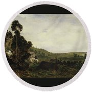 An Old Chapel In A Valley Round Beach Towel