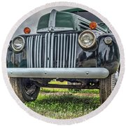 An Old Green Ford Truck Round Beach Towel