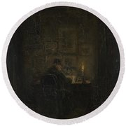 An Old Man Writing By Candlelight Round Beach Towel