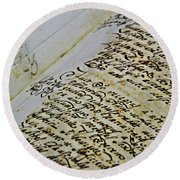 An Old Manuscript Round Beach Towel