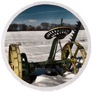 An Old Mower In The Snow Round Beach Towel