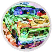An Old Pickup Truck 1 Round Beach Towel