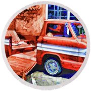 An Old Pickup Truck 2 Round Beach Towel