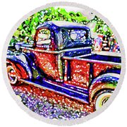 An Old Pickup Truck 3 Round Beach Towel