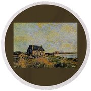 An Old Scottish Cottage Overlooking A Loch  L A S Round Beach Towel