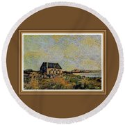 An Old Scottish Cottage Overlooking A Loch  L A S  With Decorative Ornate Printed Frame. Round Beach Towel