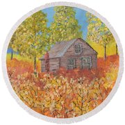 An Old Abandoned Tenant House Round Beach Towel