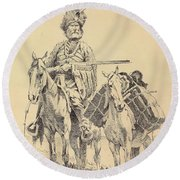 An Old Time Mountain Man With His Ponies Round Beach Towel