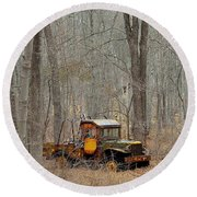An Old Truck In The Woods. Round Beach Towel