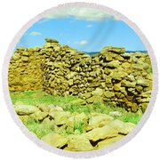 An Old Wall At The Pecos Ruins Round Beach Towel
