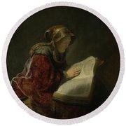 An Old Woman Reading - Prophetess Hannah Round Beach Towel