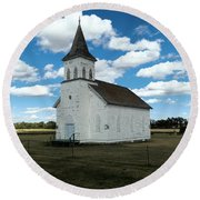 An Old Wooden Church Round Beach Towel