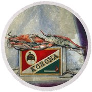 An Old Flame Round Beach Towel