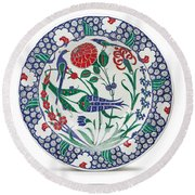 An Ottoman Iznik Style Floral Design Pottery Polychrome, By Adam Asar, No 1 Round Beach Towel