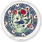 An Ottoman Iznik Style Floral Design Pottery Polychrome, By Adam Asar, No 1a Round Beach Towel