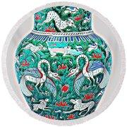 An Ottoman Iznik Style Floral Design Pottery Polychrome, By Adam Asar, No 7a Round Beach Towel