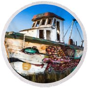 An Wooden Old Ship 2 Round Beach Towel