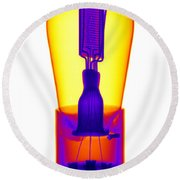 An X-ray Of Historic Audion Vacuum Tube Round Beach Towel