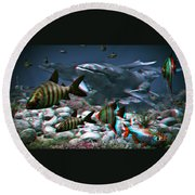 Anaglyph Whales Round Beach Towel