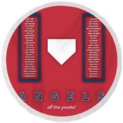 Anaheim Angels Art - Mlb Baseball Wall Print Round Beach Towel