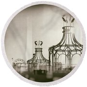 Analog On The Pier Round Beach Towel by Michael Hope