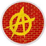 Anarchy Graffiti Red Brick Wall Round Beach Towel