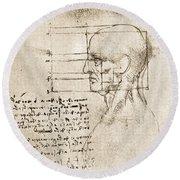 Anatomical Drawing By Leonardo Da Vinci Round Beach Towel