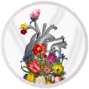 Anatomical Heart With Colorful Flowers Round Beach Towel