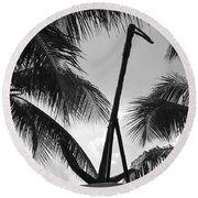Anchor In Black And White Round Beach Towel