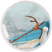 Anchor On A Boat In Maldives Round Beach Towel