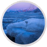 Anchorage Icebergs Round Beach Towel
