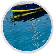 Anchored Boat II Round Beach Towel