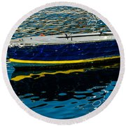 Anchored Boat Round Beach Towel