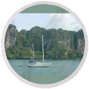 Anchored In Paradise Round Beach Towel
