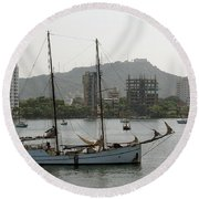 Anchored Sailboat Round Beach Towel