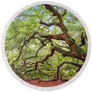 Ancient Angel Oak Tree  Round Beach Towel